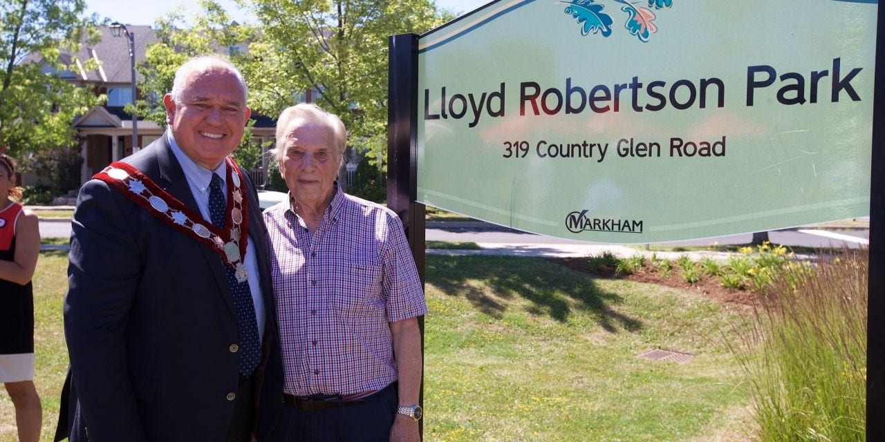 Markham park named after Lloyd Robertson