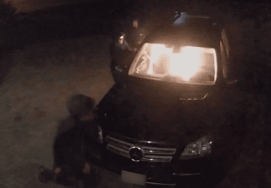 Suspects sought after vehicle set on fire